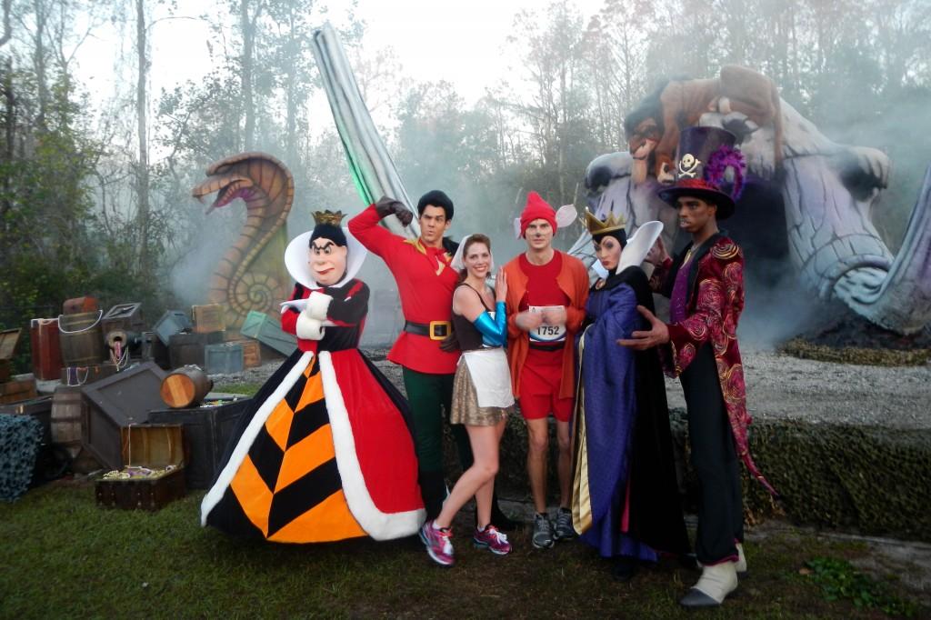 Walt Disney World Marathon, Disney running, run Disney, Queen of Hearts, Gaston, Maleficent, Cinderella in rags, Jacque the Mouse, running costume