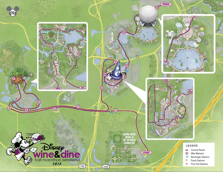 Disney Wine & Dine Half Marathon Course Map |Run, Karla, Run! | Run on