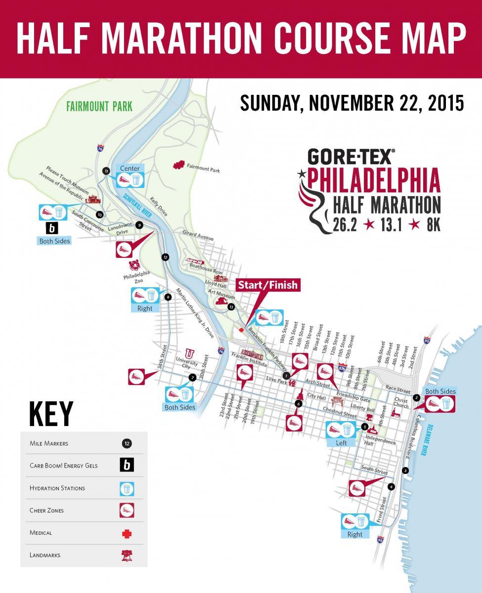 philadelphia marathon course map Philly Half Marathon Map 2015 Run Karla Run Run Karla Run philadelphia marathon course map
